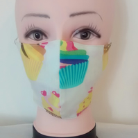 Handmade 3 layers cupcakes adult face mask.