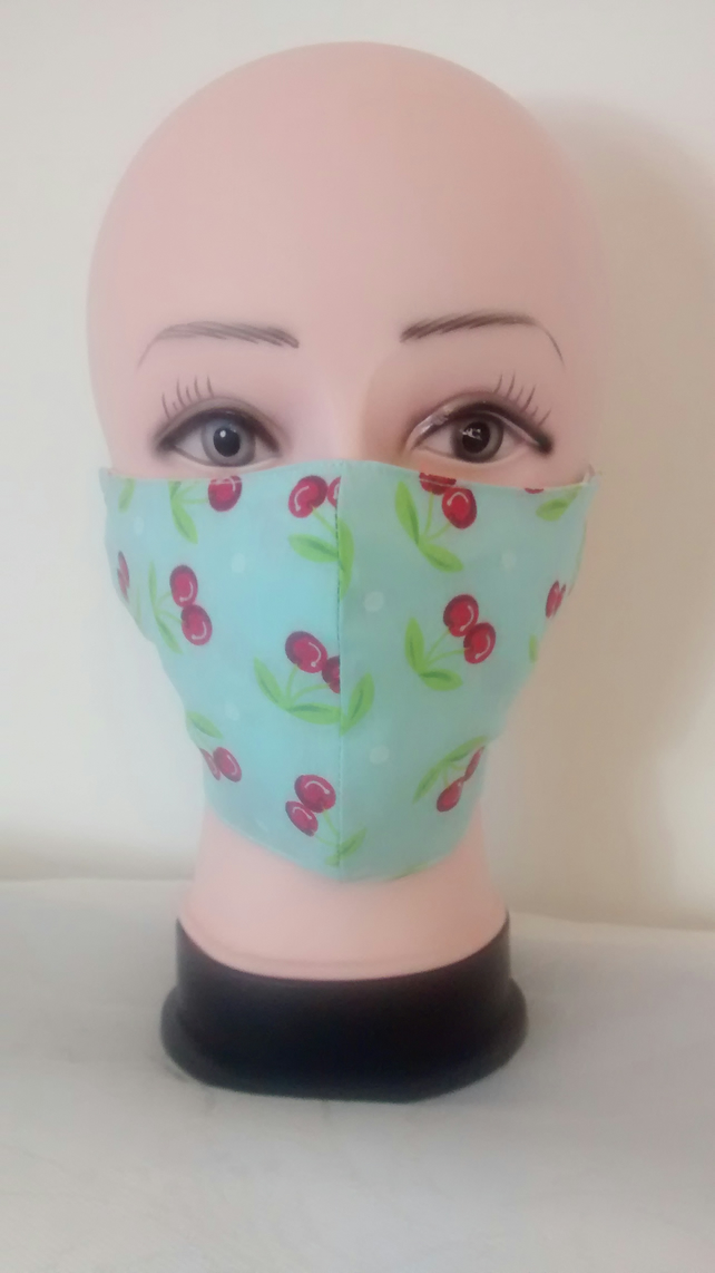 Handmade 3 layers cherries reusable adult face mask.
