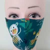 Handmade 3 layers animal monkey reusable adult face mask.