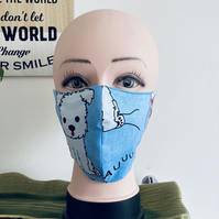 Handmade 3 layers dog blue reusable adult face mask.
