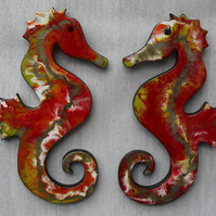 2 x matching colours Seahorse wall art - Resin Art - Medium size