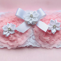 ROSALIE White Stretch Lace Wedding Garter