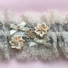Coffee and Cream Wedding Garter