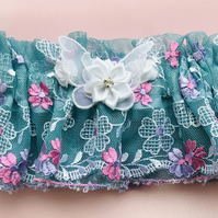 JACQUELINE Embroidered Teal Lace Wedding Garter