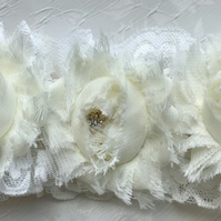 Suzette Ivory Rose Wedding Garter