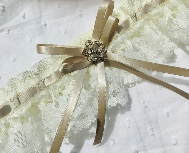 ANNABELLE Ivory and Taupe Wedding  Garter