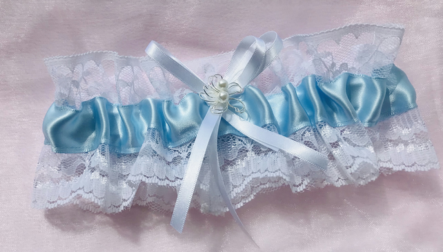 MICHELLE Something Blue White Lace Garter