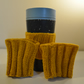 Mustard yellow vertical stripe cup cosies