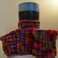 Vibrant multicoloured vertical stripe cup cosies