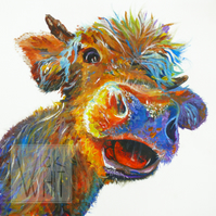 Hattie the happy cow. Mounted print