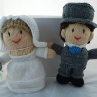 Hand-knitted Bride and Groom, Collectable Dolls - Wedding or Anniversary gifts