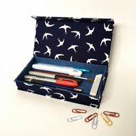 Free Little Birds Handmade Fabric Covered Pencil Case