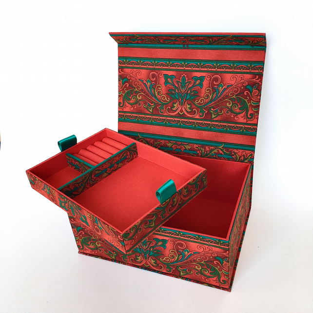 Arabesque Handmade Fabric Covered Organiser with Removable Tray