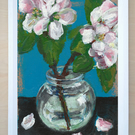 Apple blossom original painting of white flowers flower floral art artwork A6