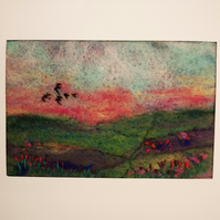 Large blank greetings card with hand felted and embroidered image