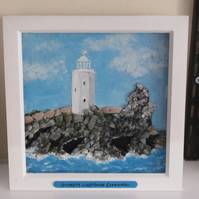 Pebble art,made in Cornwall  - Godrevy Lighthouse, St Ives,Cornwall