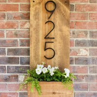 Personalised wooden wall mounted planter door number plaque
