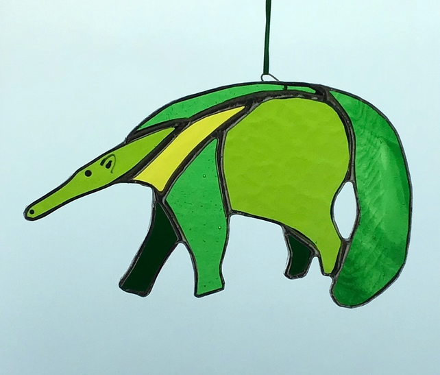 Anteater stained glass hanging