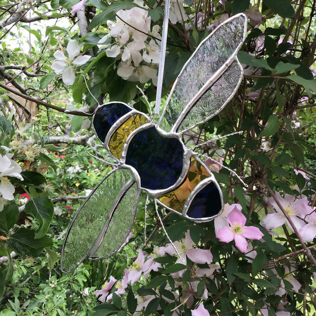 Bee stained glass hanging