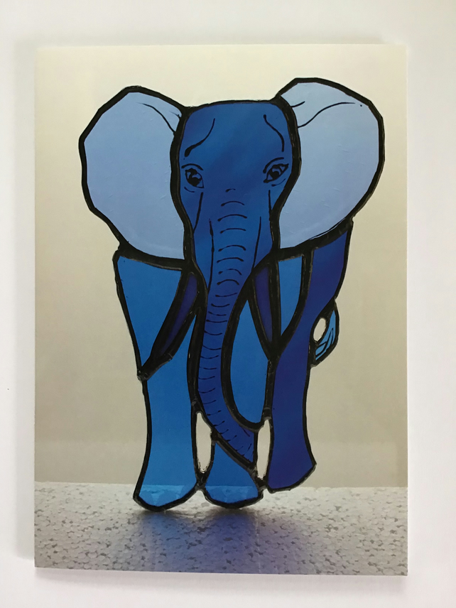 Stained glass 'Blue Elephant' greetings card