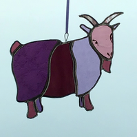 Stained Glass Pygmy Goat hanging