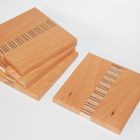 Steamed Beech Coasters with Plywood Inset Handmade Set of 4