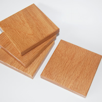 Chunky Oak Drink Coasters Handmade Set of 4