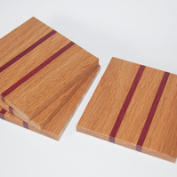 Oak Drink Coasters with Purpleheart Wood Insets Handmade Set of 4