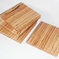 Zebrano Wood Drink Coasters Handmade Set of 4