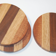 Wooden Drink Coasters, Black Walnut, Oak and Sapele Handmade Set of 3