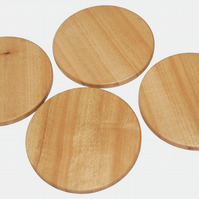 Wooden Drink Coasters, Round Idigbo Handmade Set of 4