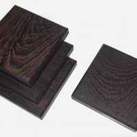 Wenge Drink Coasters, Wood Handmade Set of 4