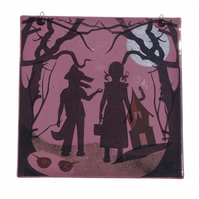 Red Riding Hood Shadow Puppet Panel, Fused Glass Fairytale Decoration