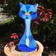 Large fused glass Cat house or garden decoration in your choice of colours!