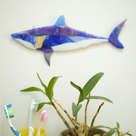 Handmade Fused Glass Mako Shark Wall Art Decoration