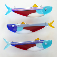 Handmade Fused Glass Hanging Neon Tetra Fish Decorations