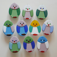 Personalised fused glass chick decoration - made with your choice of colours!