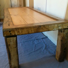 Reclaimed english oak frame, pitch pine top