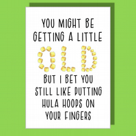 Funny Birthday Card, Funny Card, Birthday Card, Card for him or her, Hula Hoops