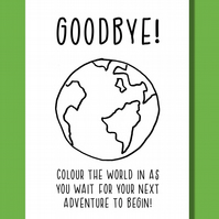 Funny leaving card, Farewell card, Retirement card, Colour in world