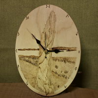 Hand made wall clock with Orkney neolithic standing stones artwork