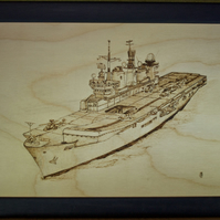 Original framed pyrography art of Royal Navy aircraft carrier HMS Illustrious