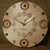 Hand made circular wood Orkney celtic pattern wall clock