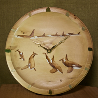 Hand made wooden wall clock with original orca artwork