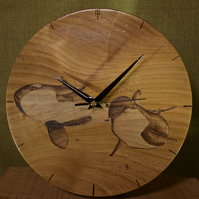 Hand made wooden wall clock with two orca killer whales