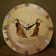 Hand made wooden wall clock with original art of two puffins