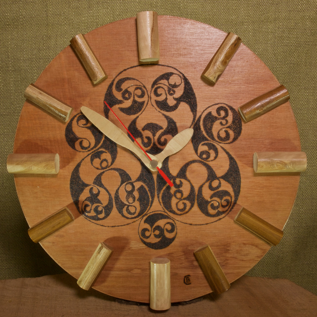 Hand made plywood wall clock with celtic design pattern.