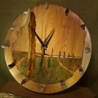 Hand made yew wood clock with Ring of Brodgar artwork.