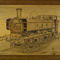 Original pyrography art of GWR pannier tank steam engine