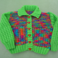 "Green & Multi Colours Cardigan Sizes Approx. 9-12 mths 20"" 51cm"